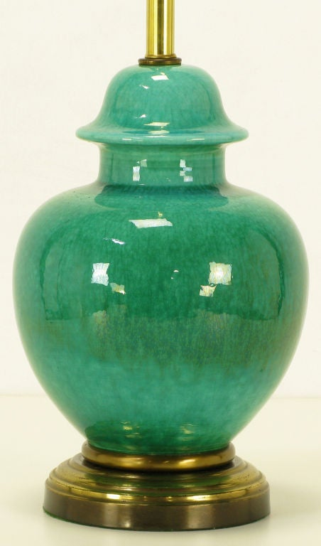 Pair Emerald Green Crackle Glazed Ginger Jar Table Lamps 4
