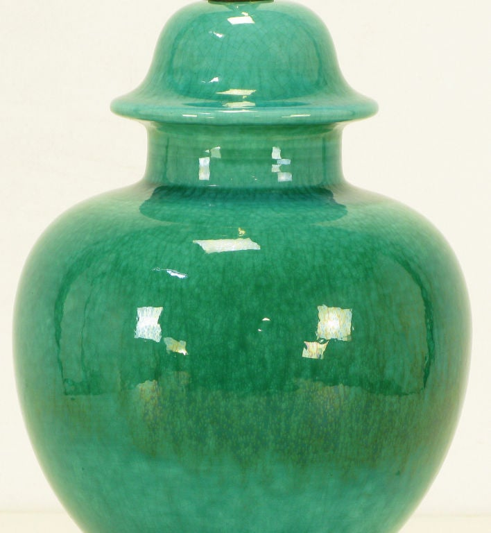 Pair Emerald Green Crackle Glazed Ginger Jar Table Lamps image 5