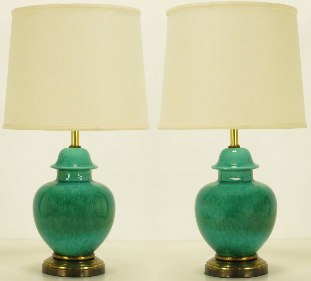 Pair Emerald Green Crackle Glazed Ginger Jar Table Lamps 2