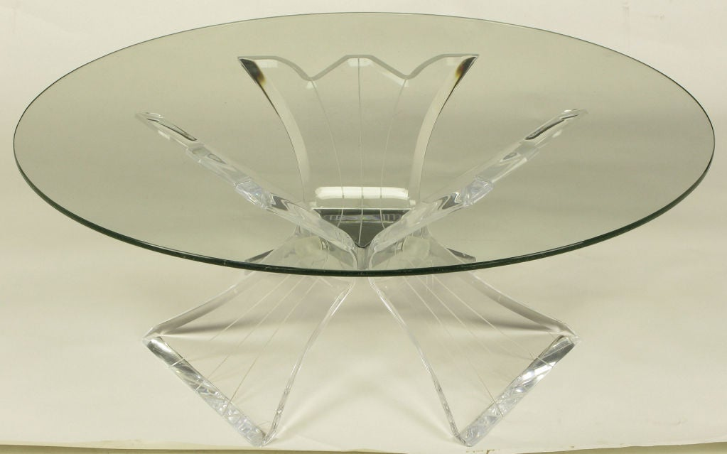 Triple Butterfly Leg Lucite And Mirror Round Coffee Table At 1stdibs