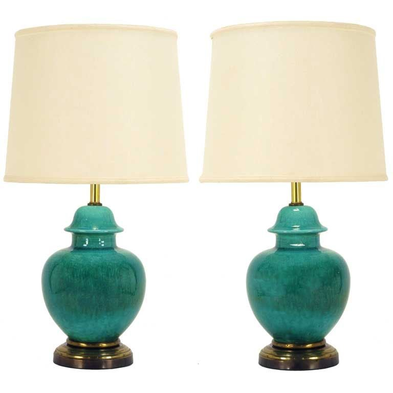 Pair Emerald Green Crackle Glazed Ginger Jar Table Lamps