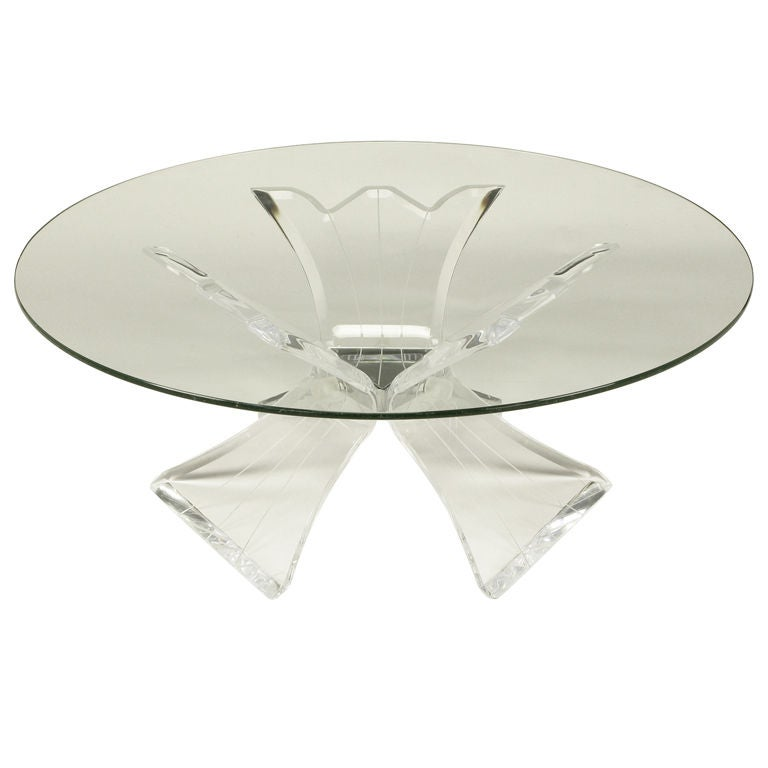 Triple Butterfly Leg Lucite U0026 Mirror Round Coffee Table 1
