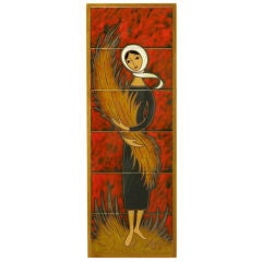 Hand Painted Ceramic Tile Art Of Woman Holding Wheat Sheaf