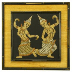 Framed Thai Painted Silk  Tapestry