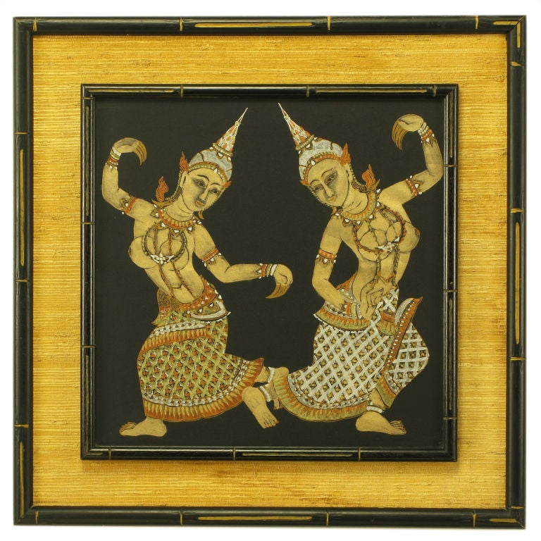 Framed Thai Painted Silk  Tapestry
