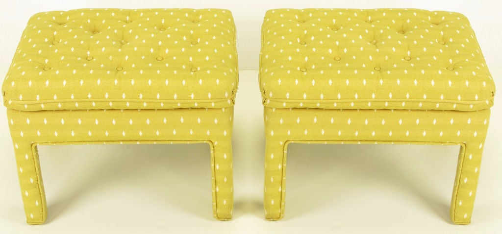 Pair Fully Upholstered Button-Tufted Parsons Benches 2