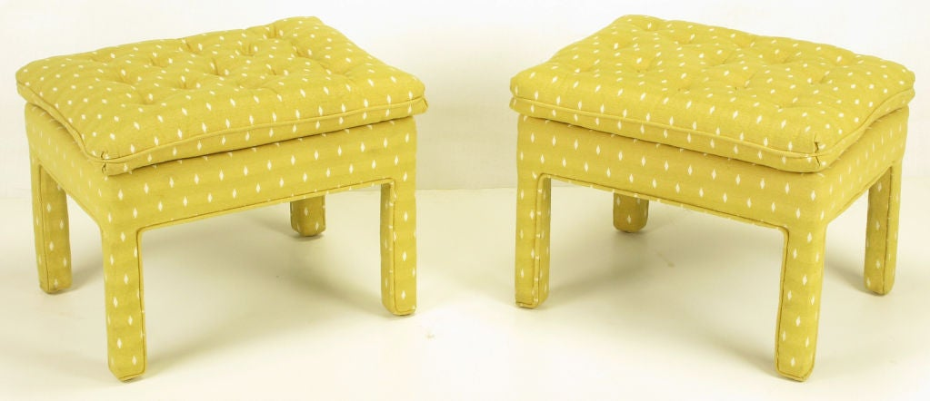 Pair Fully Upholstered Button-Tufted Parsons Benches 3