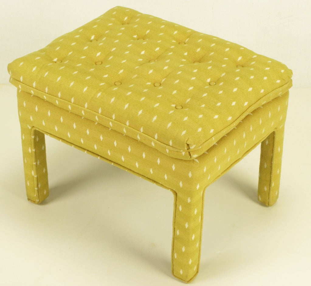 Pair Fully Upholstered Button-Tufted Parsons Benches 5