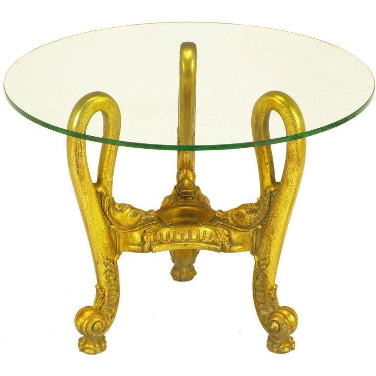 French Regency Style Gilt Wood Triple Swan Side Table 1