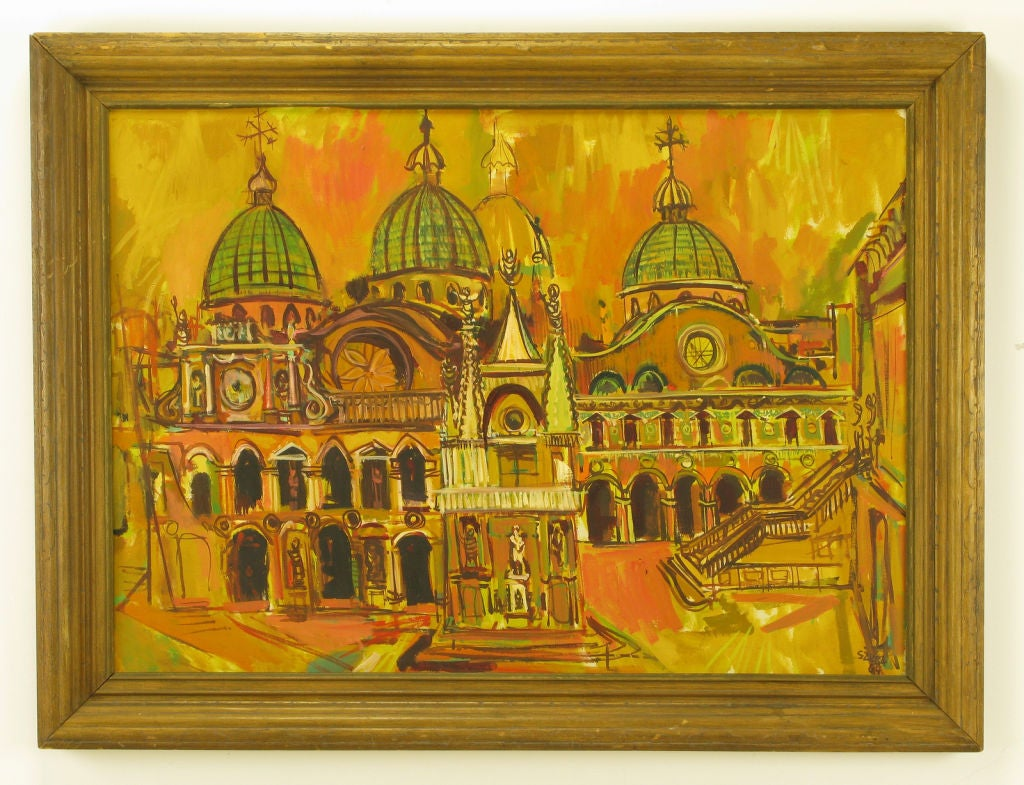 Venice at sunset. A colonnade appears to the right and in the center a spired sanctuary. In the background can be seen the four domes of St. Mark's Basilica. Signed and dated, Szuba '64.<br />