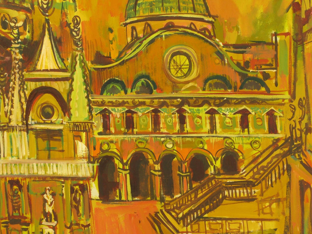 American Oil On Canvas Of St. Marks Basilica - Venice For Sale