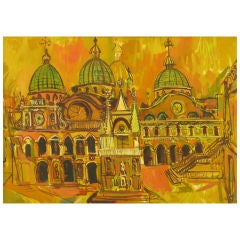 Oil On Canvas Of St. Marks Basilica - Venice