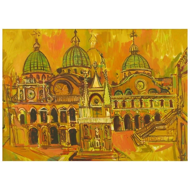 Oil On Canvas Of St. Marks Basilica - Venice For Sale