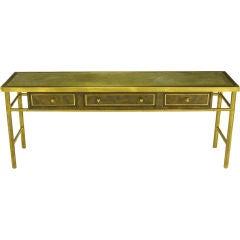 Mastercraft Amboyna Burl & Brass Console Table