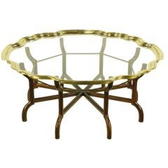 Baker Mahogany Eight-Leg Coffee Table With Brass Rim Glass Tray