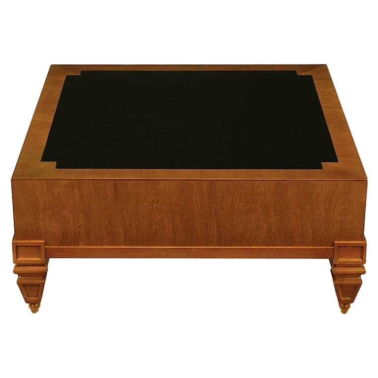 Tomlinson Mahogany And Black Leather Square Coffee Table At 1stdibs