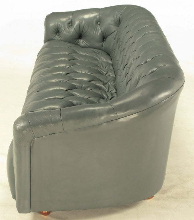 Mid-20th Century Baker Slate Grey Button-Tufted Leather Sofa For Sale