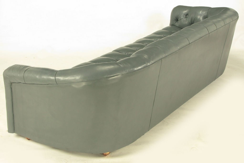 Wood Baker Slate Grey Button-Tufted Leather Sofa For Sale
