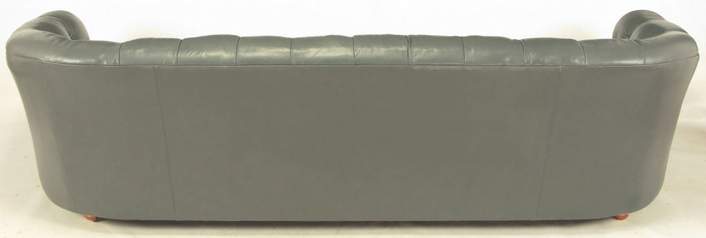Baker Slate Grey Button-Tufted Leather Sofa For Sale 1