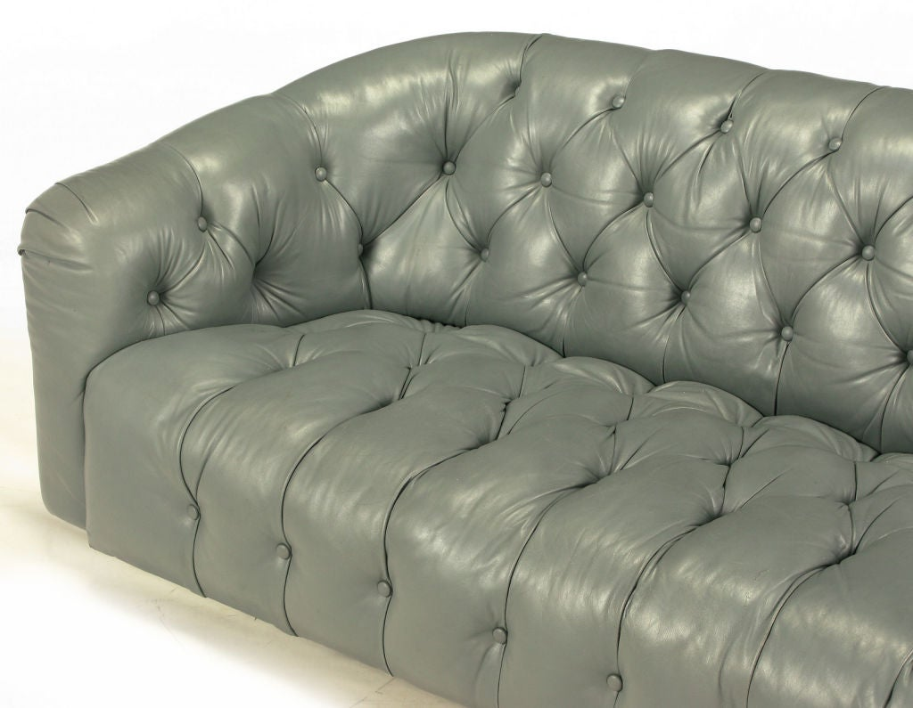 Baker Slate Grey Button Tufted Leather Sofa At 1stdibs