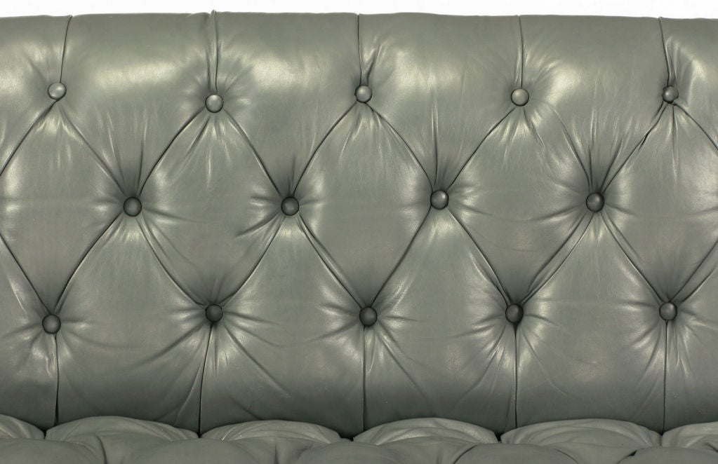 Baker Slate Grey Button-Tufted Leather Sofa For Sale 3
