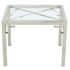 Chrome Parsons Style Chinese Chippendale X-Top End Table