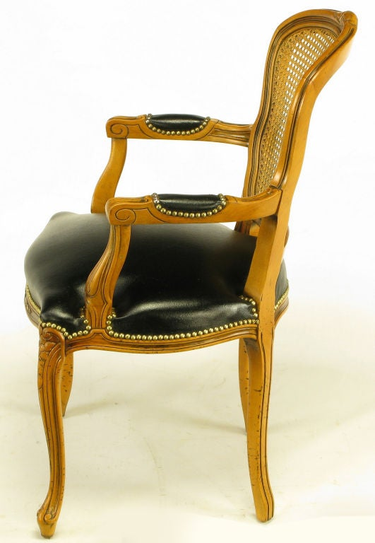 Four Italian Carved Wood And Black Leather Arm Chairs At