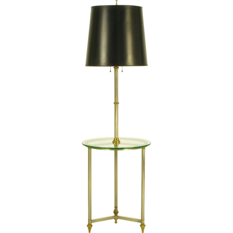 italian brushed nickel and brass glass table top floor lamp at 1stdibs. Black Bedroom Furniture Sets. Home Design Ideas