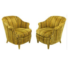 Pair Striped Velvet Lounge Chairs With Upholstered Legs