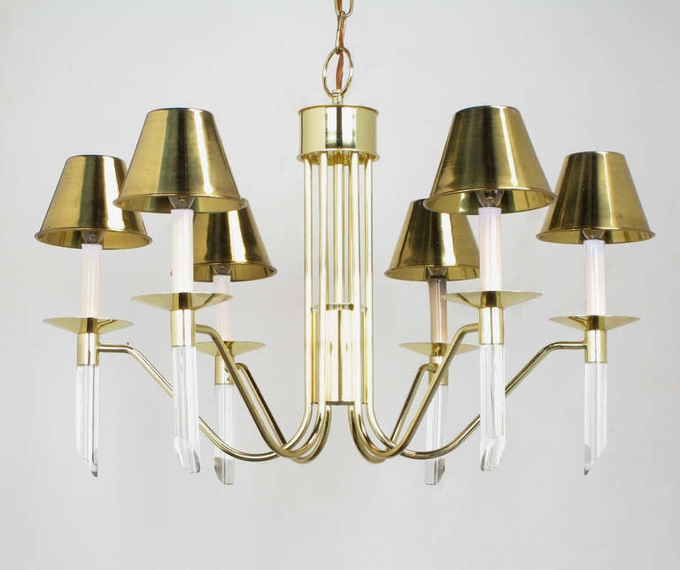American Seven Light Brass & Lucite Chandelier With Brass Shades For Sale