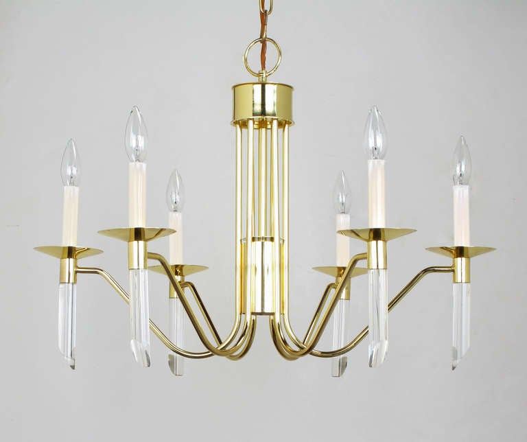 Seven Light Brass & Lucite Chandelier With Brass Shades In Excellent Condition For Sale In Chicago, IL