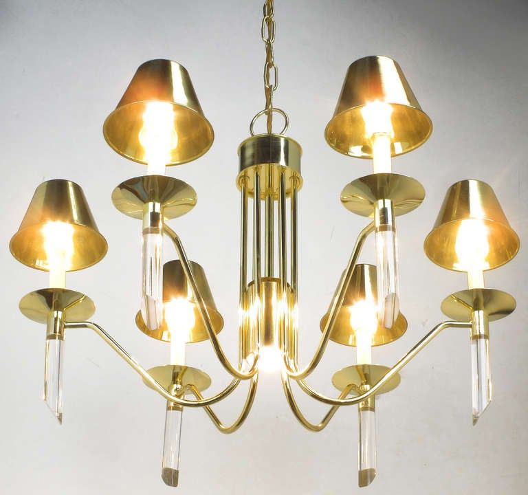 20th Century Seven Light Brass & Lucite Chandelier With Brass Shades For Sale