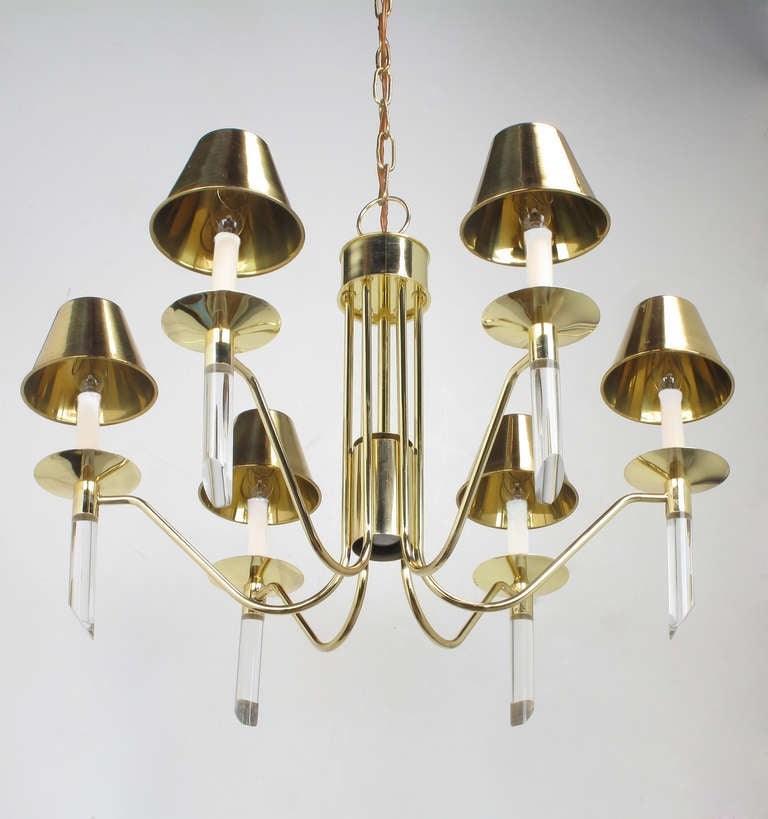 Seven Light Brass & Lucite Chandelier With Brass Shades For Sale 2