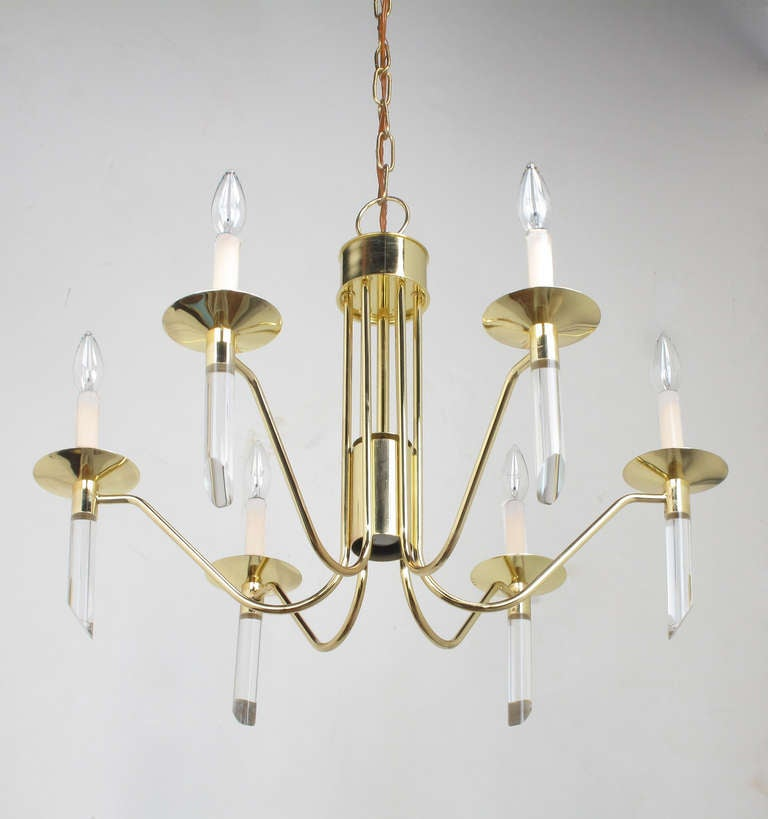 Seven Light Brass & Lucite Chandelier With Brass Shades For Sale 1