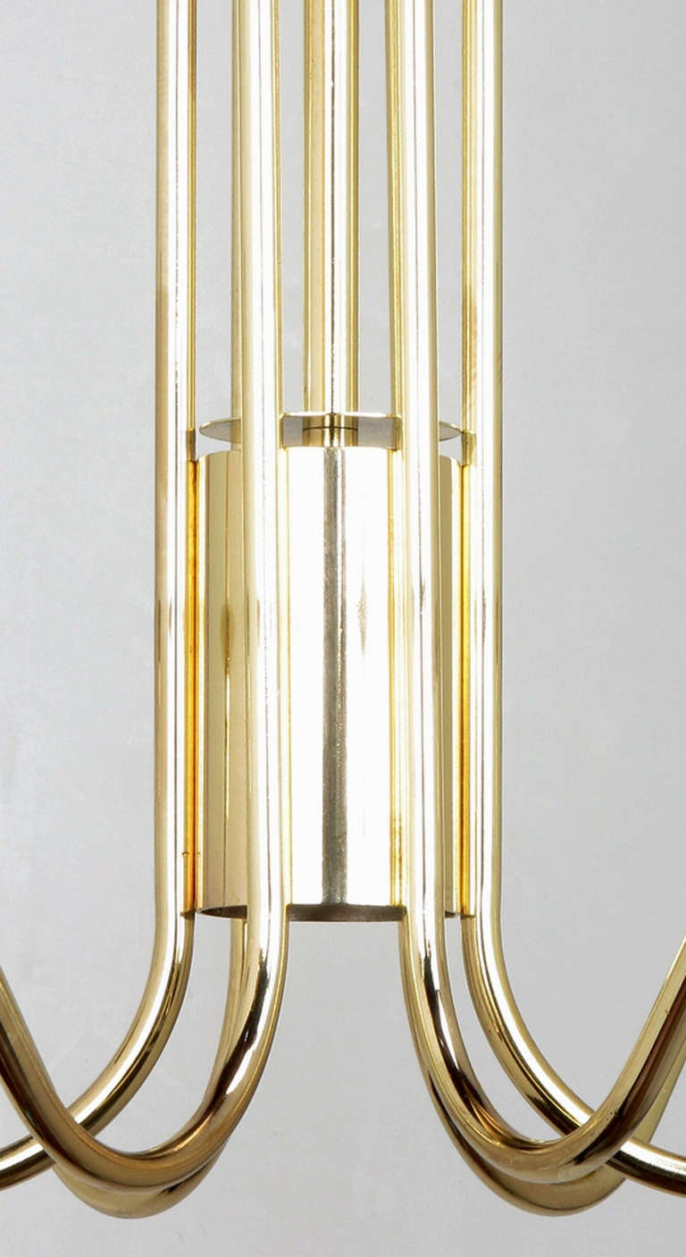 Seven Light Brass & Lucite Chandelier With Brass Shades For Sale 4