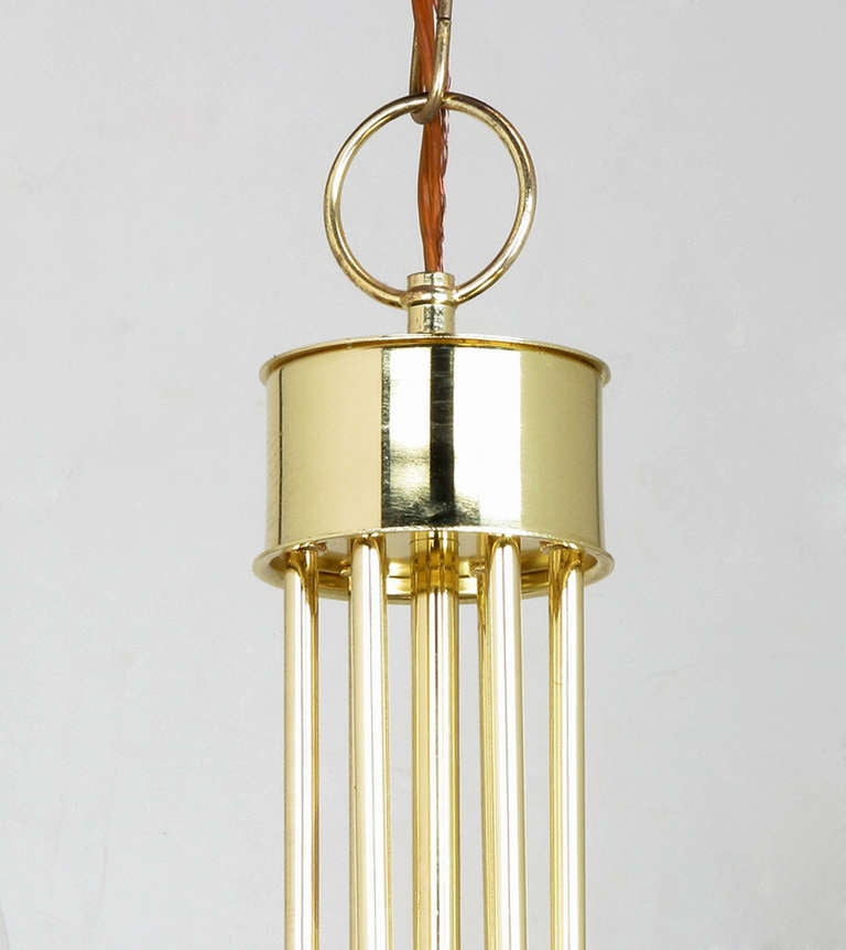 Seven Light Brass & Lucite Chandelier With Brass Shades For Sale 5