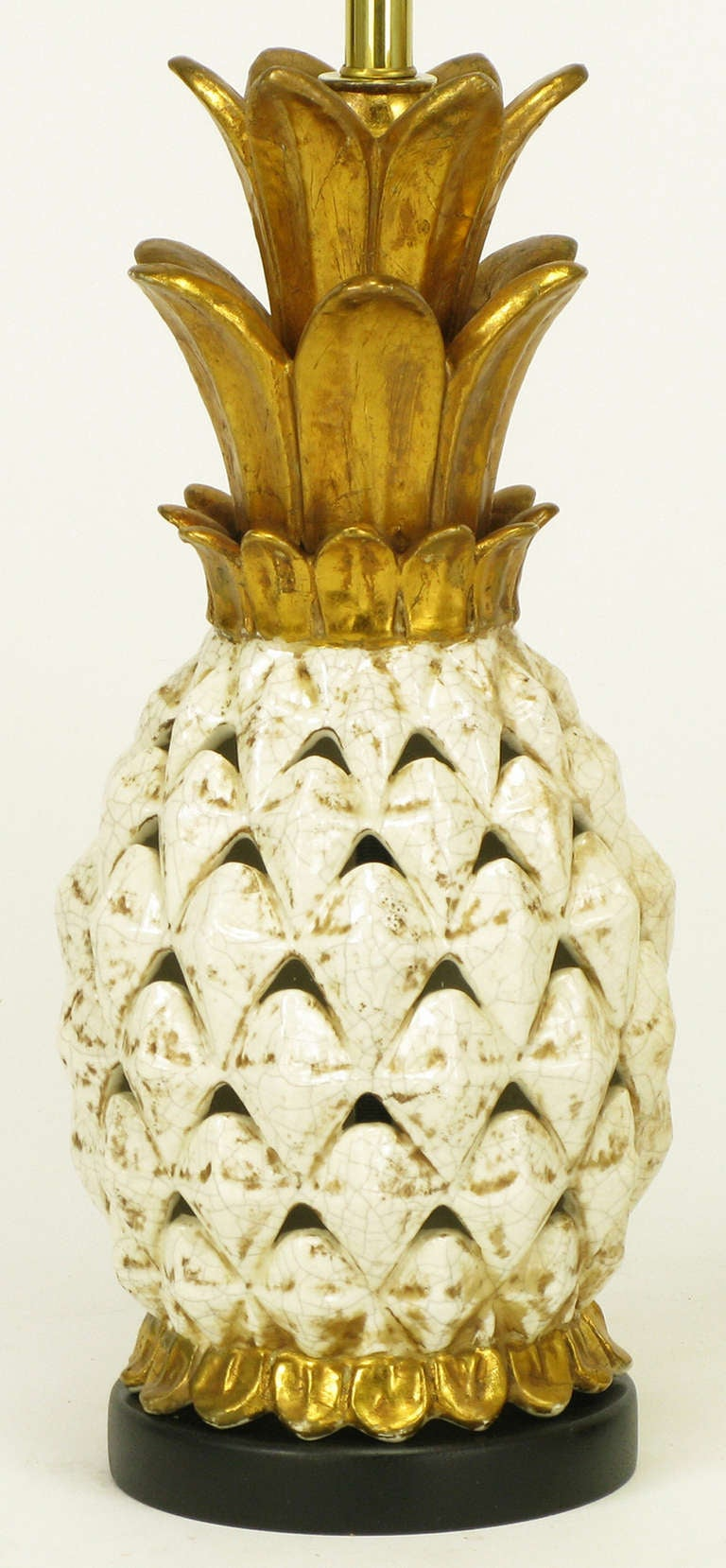 Pair Reticulated Pottery Pineapple Form Table Lamps At 1stdibs