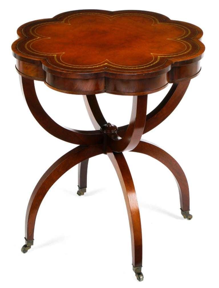 Regency End Tables In Mahogany With Octofoil Tooled Leather Top 2