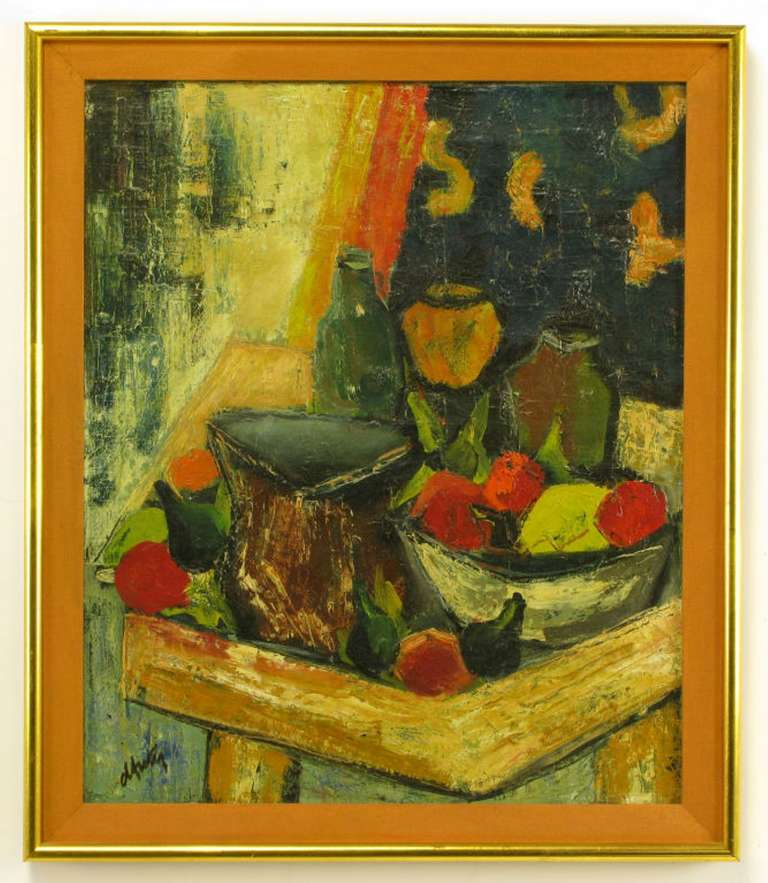Henri D'Anty 1910-1998, oil painting on canvas, still life of fruit and bottles on a tray table. Brass frame with umber linen liner; framed 24.5