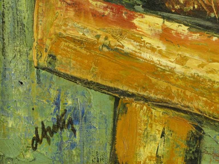 Mid-20th Century Henri D'Anty Abstract Still Life Oil On Canvas For Sale