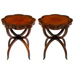 Regency End Tables In Mahogany With Octofoil Tooled Leather Top