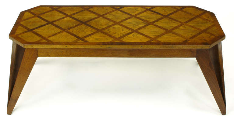 American Bench Built Parquetry Coffee Table in the Manner of Paul Laszlo For Sale