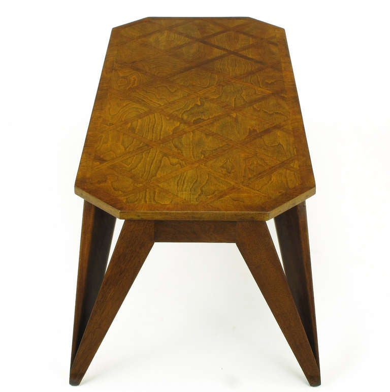Plywood Bench Built Parquetry Coffee Table in the Manner of Paul Laszlo For Sale