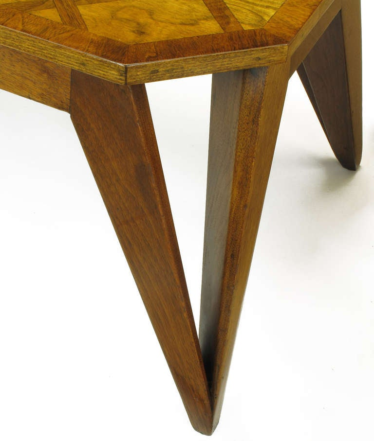 Bench Built Parquetry Coffee Table in the Manner of Paul Laszlo For Sale 1