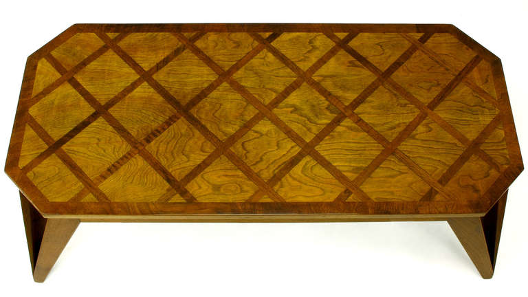 Mid-20th Century Bench Built Parquetry Coffee Table in the Manner of Paul Laszlo For Sale