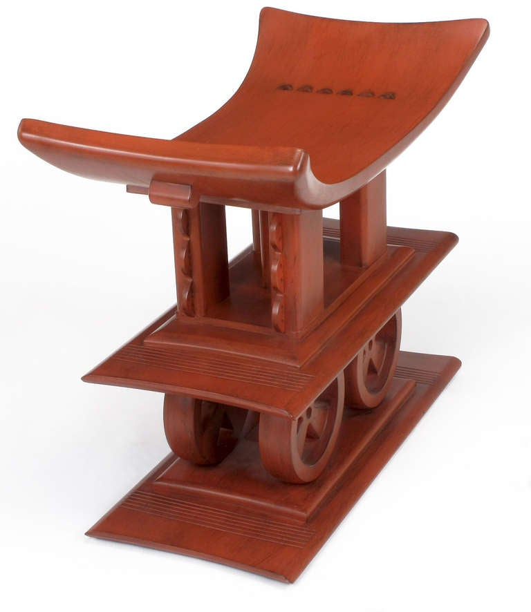 Late 20th Century Interior Crafts Cinnabar Red Egyptian-Style Sculptural Wood Bench For Sale