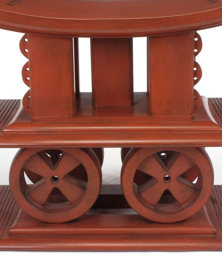 Interior Crafts Cinnabar Red Egyptian-Style Sculptural Wood Bench For Sale 1
