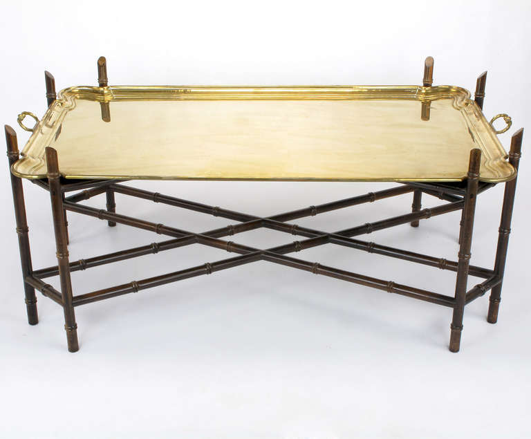 Bamboo Form Chinese Chippendale Brass Tray Coffee Table At 1stdibs