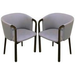 Pair of Edward Wormley Mahogany and Grey Wool Barrel Back Chairs