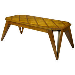 Bench Built Parquetry Coffee Table in the Manner of Paul Laszlo